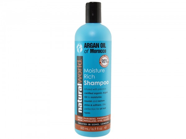 Natural World Argan Oil Of Morocco Rich Moisture Shampoo 500ml (5012368090024)